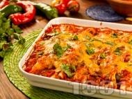 Рецепта Енчиладас с кайма, доматен сос, сметана и сирене чедър